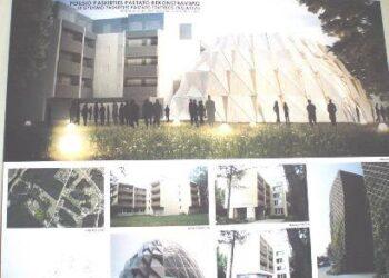 """Sveikatingumo centras vadinsis """"SPA Vilnius Verde"""" (gamta, žaluma). Ant dabartinio mūrinio pastato planuojama pristatyti daqr vieną monsardinį aukštą, o šalia – skruzdėlyną primenantį baseiną."""