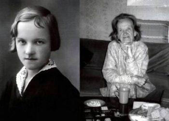 """Alė Rūta jaunystėje Lietuvoje ir senatvėje savo namuose Kalifornijoje. Nuotraukos iš jos paskutinio leidinio – albumo """"Sklėriai""""."""