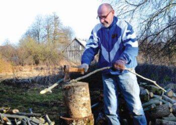 Sentikis Ivasijus Kudrešovas saulėtą antradienio popietę kapojo šakas.