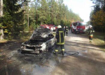 Ugniagesiai gelbėtojai užgesino tik metalo laužu virtusį automobilio kėbulą.Autoriaus nuotr.