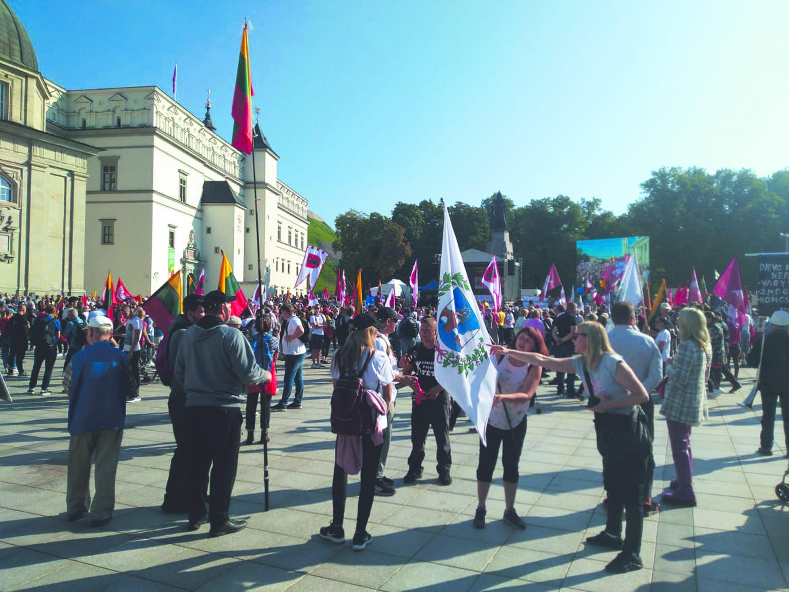 Mitinge Katedros aikštėje plazdėjo ir Anykščių vėliava Nuotr. iš Tomo BARANAUSKO archyvo
