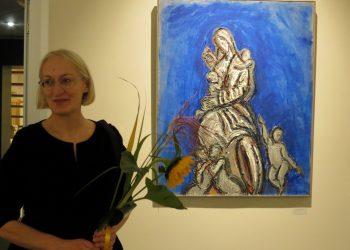 Tapytojo žmona, meno terapeutė, jo parodų organizatorė Aušra Stasiulevičienė.